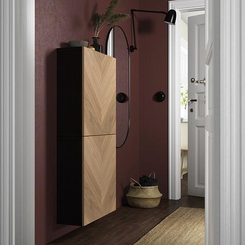 BESTÅ - 雙門吊櫃, black-brown/Hedeviken oak veneer   IKEA 香港及澳門 - PE824108_S4