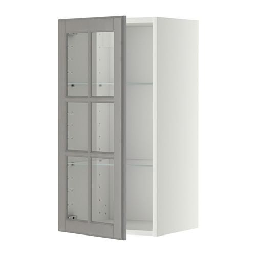 METOD - wall cabinet w shelves/glass door, white/Bodbyn grey | IKEA Hong Kong and Macau - PE357386_S4