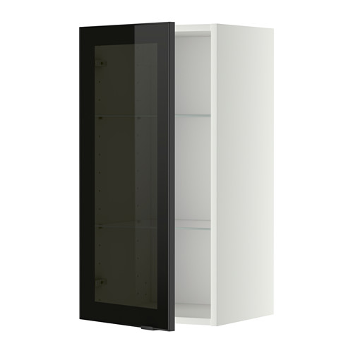 METOD wall cabinet w shelves/glass door