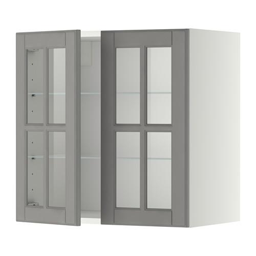METOD - wall cabinet w shelves/2 glass drs, white/Bodbyn grey   IKEA Hong Kong and Macau - PE353492_S4