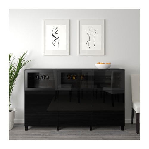 BESTÅ - storage combination with doors, black-brown Selsviken/Glassvik high-gloss/black clear glass | IKEA Hong Kong and Macau - PE630910_S4