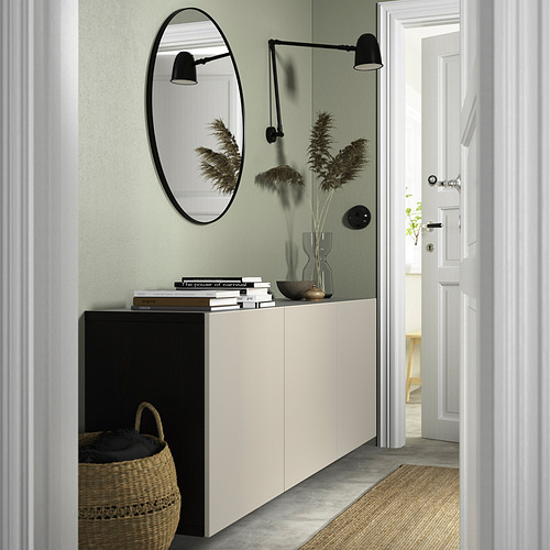 BESTÅ - 上牆式貯物組合, black-brown/Lappviken light grey-beige   IKEA 香港及澳門 - PE824158_S4
