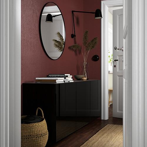 BESTÅ - 上牆式貯物組合, black-brown/Selsviken high-gloss/black   IKEA 香港及澳門 - PE824162_S4