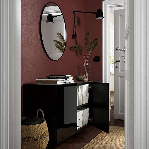 BESTÅ - 上牆式貯物組合, black-brown/Selsviken high-gloss/black   IKEA 香港及澳門 - PE824190_S4