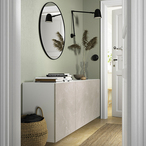 BESTÅ - 上牆式貯物組合, white Bergsviken/beige marble effect   IKEA 香港及澳門 - PE824166_S4