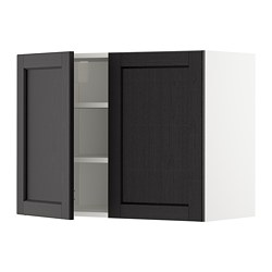 METOD - 吊櫃連層板/雙門, white/Lerhyttan black stained | IKEA 香港及澳門 - PE679018_S3