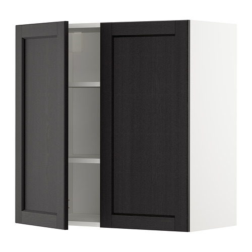 METOD - wall cabinet with shelves/2 doors, white/Lerhyttan black stained | IKEA Hong Kong and Macau - PE679021_S4