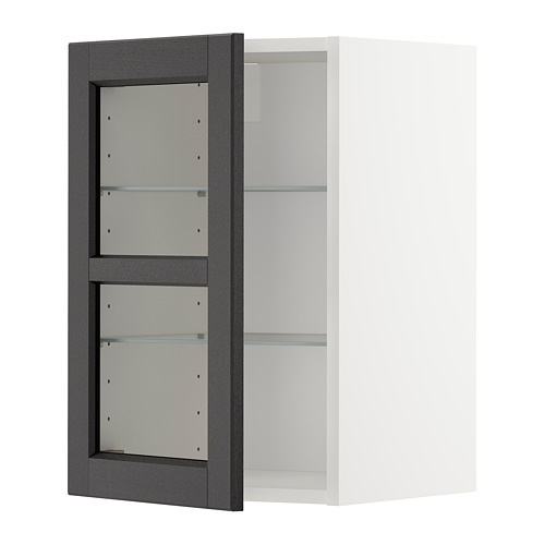 METOD - wall cabinet w shelves/glass door, white/Lerhyttan black stained | IKEA Hong Kong and Macau - PE679161_S4