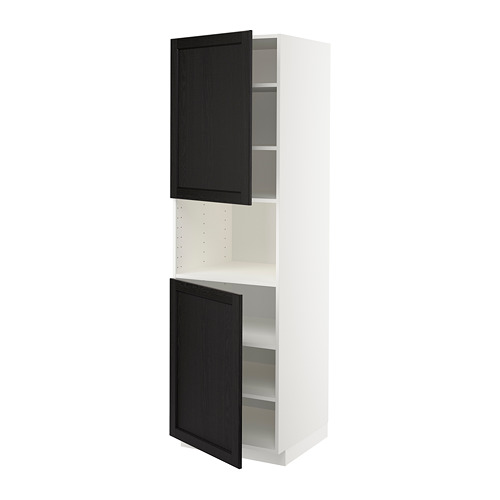 METOD - high cab f micro w 2 doors/shelves, white/Lerhyttan black stained | IKEA Hong Kong and Macau - PE679164_S4