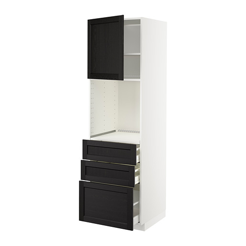 METOD/MAXIMERA - high cab f oven w door/3 drawers, white/Lerhyttan black stained   IKEA Hong Kong and Macau - PE679179_S4
