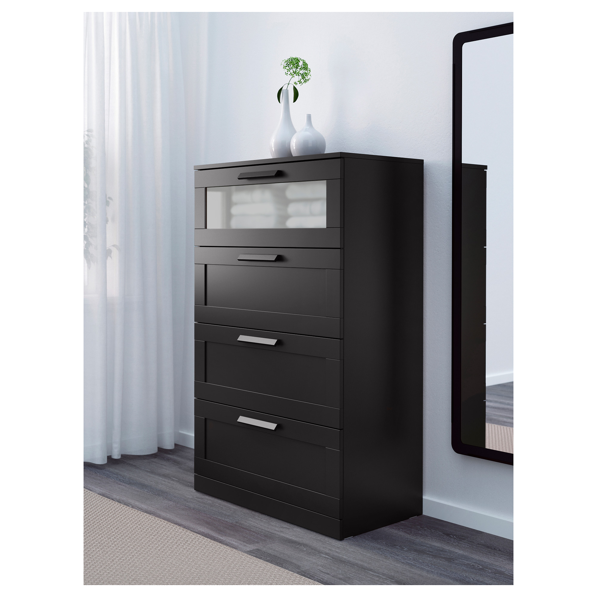 BRIMNES - chest of 4 drawers, black/frosted glass | IKEA ...