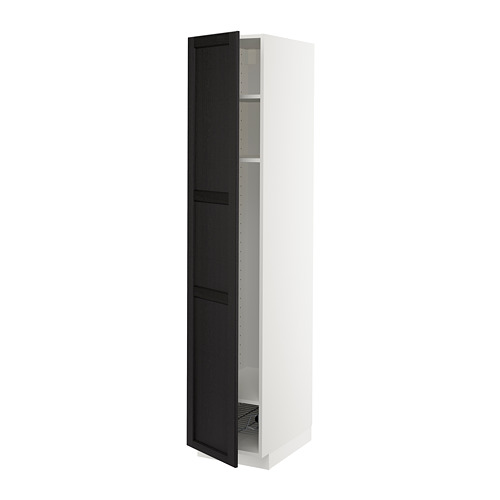 METOD - high cabinet w shelves/wire basket, white/Lerhyttan black stained | IKEA Hong Kong and Macau - PE679453_S4