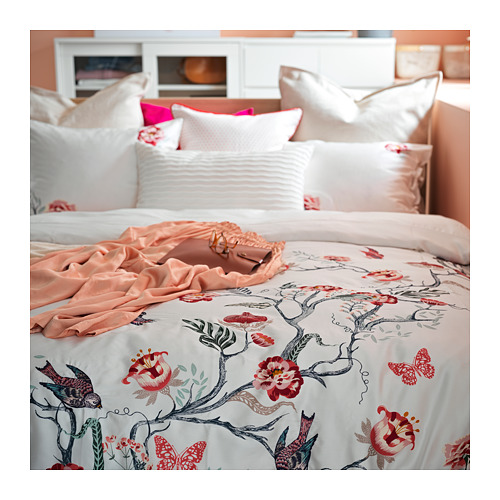 JÄTTELILJA - quilt cover and 2 pillowcases, white/floral patterned, 200x200/50x80 cm  | IKEA Hong Kong and Macau - PH165863_S4