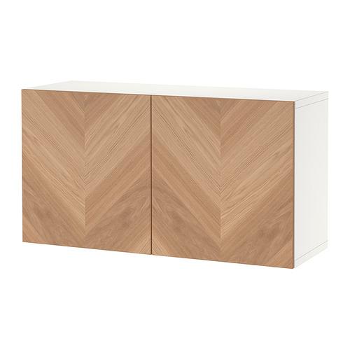 BESTÅ - shelf unit with doors, white/Hedeviken oak veneer   IKEA Hong Kong and Macau - PE824456_S4