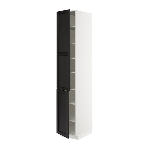METOD - high cabinet with shelves/2 doors, white/Lerhyttan black stained | IKEA Hong Kong and Macau - PE679596_S4