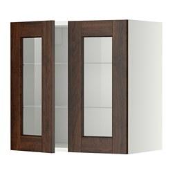 METOD - 吊櫃連層板/1對玻璃門, white/Edserum brown | IKEA 香港及澳門 - PE353493_S3