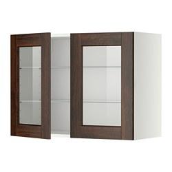 METOD - 吊櫃連層板/1對玻璃門, white/Edserum brown | IKEA 香港及澳門 - PE357403_S3