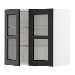 METOD - 吊櫃連層板/1對玻璃門, white/Lerhyttan black stained | IKEA 香港及澳門 - PE679632_S3