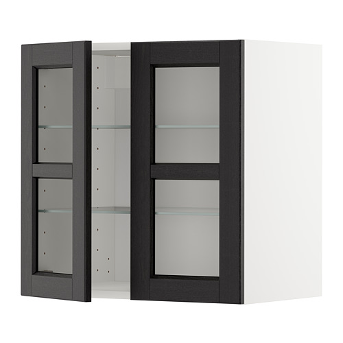 METOD - wall cabinet w shelves/2 glass drs, white/Lerhyttan black stained | IKEA Hong Kong and Macau - PE679632_S4