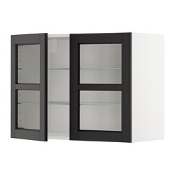 METOD - 吊櫃連層板/1對玻璃門, white/Lerhyttan black stained | IKEA 香港及澳門 - PE679633_S3