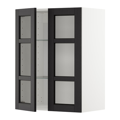 METOD - wall cabinet w shelves/2 glass drs, white/Lerhyttan black stained | IKEA Hong Kong and Macau - PE679634_S4