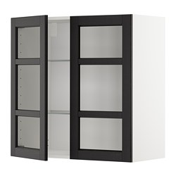 METOD - wall cabinet w shelves/2 glass drs, white/Lerhyttan black stained | IKEA Hong Kong and Macau - PE679635_S3
