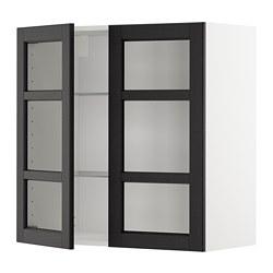 METOD - 吊櫃連層板/1對玻璃門, white/Lerhyttan black stained | IKEA 香港及澳門 - PE679635_S3