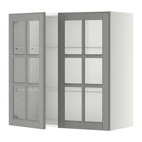 METOD - 吊櫃連層板/1對玻璃門, white/Bodbyn grey | IKEA 香港及澳門 - PE357418_S4