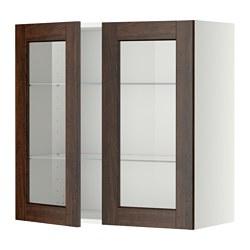 METOD - 吊櫃連層板/1對玻璃門, white/Edserum brown | IKEA 香港及澳門 - PE357419_S3