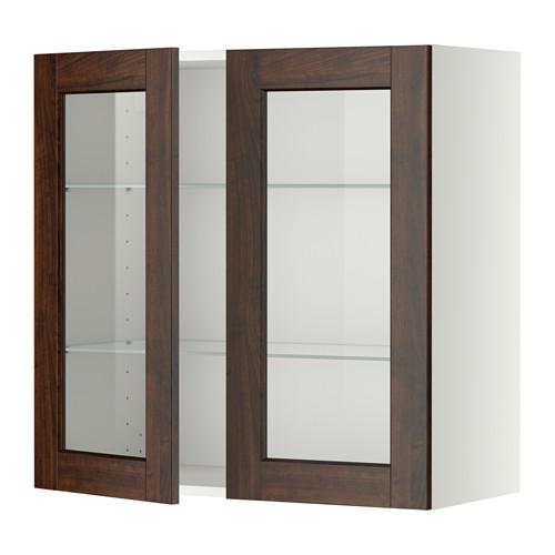 METOD - wall cabinet w shelves/2 glass drs, white/Edserum brown | IKEA Hong Kong and Macau - PE357419_S4