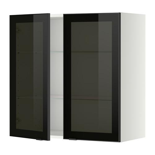 METOD - 吊櫃連層板/1對玻璃門, white/Jutis smoked glass   IKEA 香港及澳門 - PE349404_S4