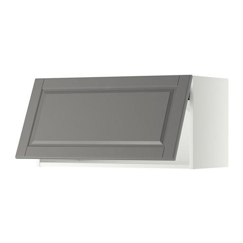 METOD - wall cabinet horizontal w push-open, white/Bodbyn grey | IKEA 香港及澳門 - PE357539_S4