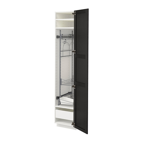 METOD/MAXIMERA - high cabinet with cleaning interior, white/Lerhyttan black stained | IKEA Hong Kong and Macau - PE679749_S4