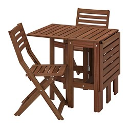 ÄPPLARÖ - table+2 folding chairs, outdoor, brown stained | IKEA Hong Kong and Macau - PE768149_S3