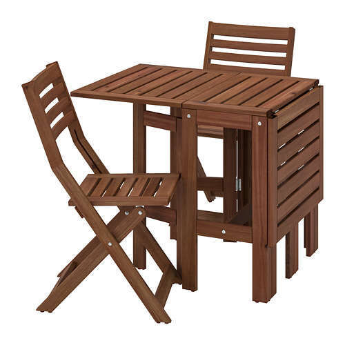 ÄPPLARÖ - table+2 folding chairs, outdoor, brown stained | IKEA Hong Kong and Macau - PE768149_S4