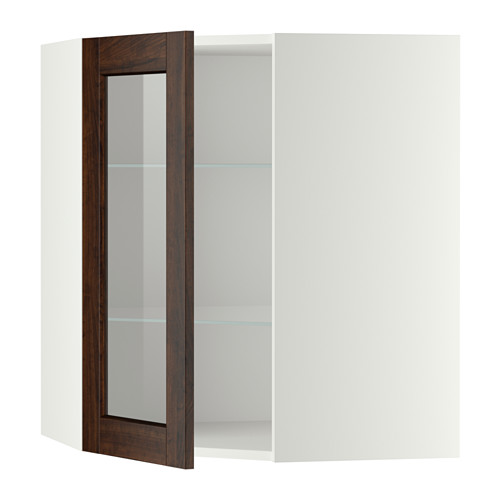 METOD - corner wall cab w shelves/glass dr, white/Edserum brown | IKEA Hong Kong and Macau - PE357654_S4