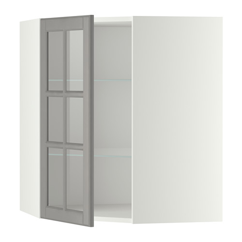 METOD corner wall cab w shelves/glass dr