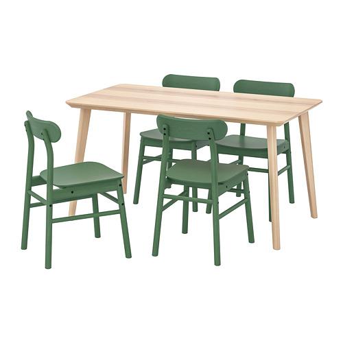 RÖNNINGE/LISABO - table and 4 chairs, ash veneer/green | IKEA Hong Kong and Macau - PE724138_S4