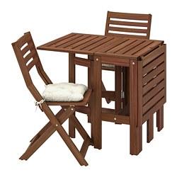 ÄPPLARÖ - table+2 folding chairs, outdoor, brown stained/Kuddarna beige | IKEA Hong Kong and Macau - PE768162_S3