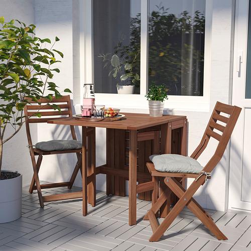 ÄPPLARÖ - table+2 folding chairs, outdoor, brown stained/Kuddarna grey | IKEA Hong Kong and Macau - PE768155_S4