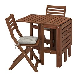 ÄPPLARÖ - table+2 folding chairs, outdoor, brown stained/Kuddarna grey | IKEA Hong Kong and Macau - PE768156_S3
