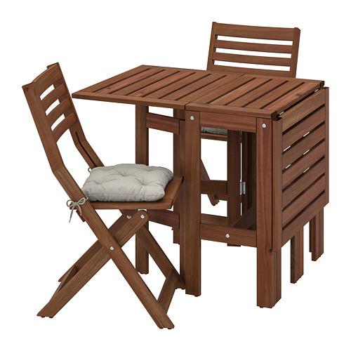 ÄPPLARÖ - table+2 folding chairs, outdoor, brown stained/Kuddarna grey | IKEA Hong Kong and Macau - PE768156_S4