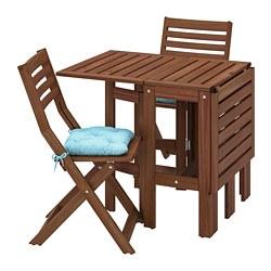 ÄPPLARÖ - 戶外檯連摺椅組合, brown stained/Kuddarna light blue   IKEA 香港及澳門 - PE768157_S3