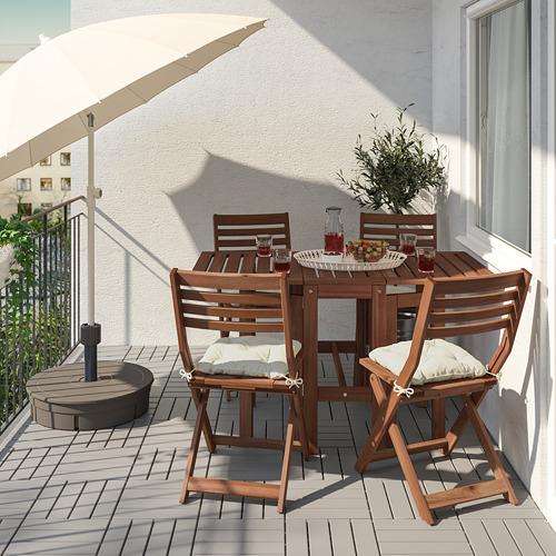 ÄPPLARÖ - table+4 folding chairs, outdoor, brown stained/Kuddarna beige | IKEA Hong Kong and Macau - PE768164_S4