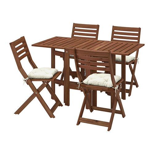 ÄPPLARÖ - table+4 folding chairs, outdoor, brown stained/Kuddarna beige | IKEA Hong Kong and Macau - PE768169_S4
