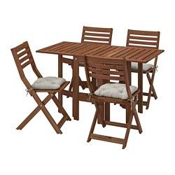 ÄPPLARÖ - table+4 folding chairs, outdoor, brown stained/Kuddarna grey   IKEA Hong Kong and Macau - PE768165_S3