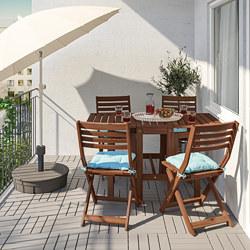 ÄPPLARÖ - 戶外檯及4張摺椅, brown stained/Kuddarna light blue   IKEA 香港及澳門 - PE768166_S3
