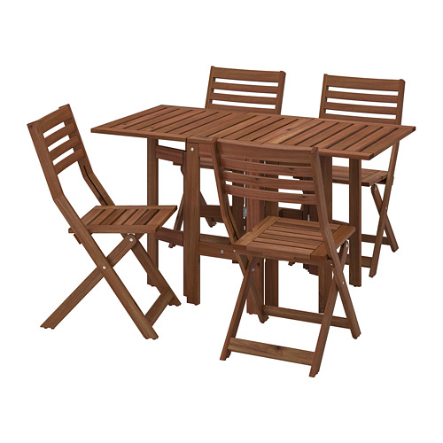 ÄPPLARÖ - table+4 folding chairs, outdoor, brown stained | IKEA Hong Kong and Macau - PE768170_S4