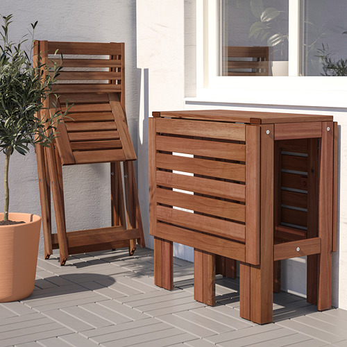 ÄPPLARÖ - table+2 folding chairs, outdoor, brown stained | IKEA Hong Kong and Macau - PE768176_S4