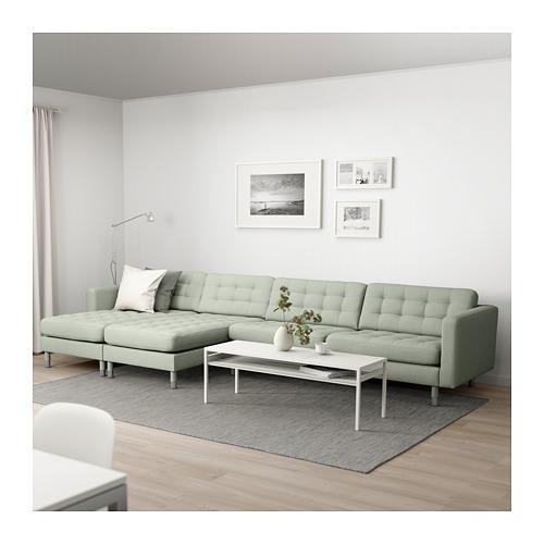 LANDSKRONA - 5-seat sofa, with chaise longues/Gunnared light green/metal | IKEA Hong Kong and Macau - PE680407_S4